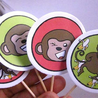 Monkeys Cupcake toppers 12 cupcake toppers Red and by katikamade