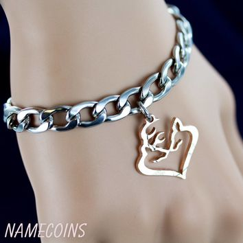 Buck and Doe Heart Bracelet, Deer Heart Jewelry, Cut coin by NameCoins