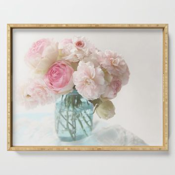pink roses in blue jar Serving Tray by sylviacookphotography