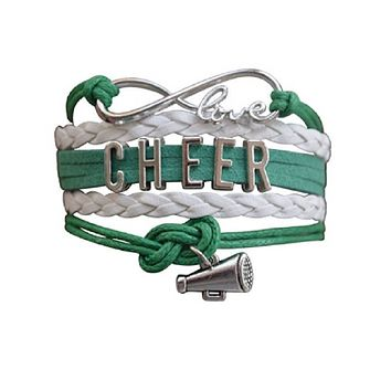 Custom Cheer Infinity Bracelet - Green