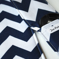 Padded Camera Strap Cover with Lens Cap Pocket - Chevron Navy Blue and White