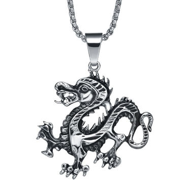 Stainless Steel Running Dragon Pendant Necklace