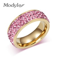 New Fashion Wedding Rings for Women Lady Girl Luxury Crystals Gold