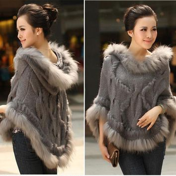 CREYWQA Fahion Luxury Women's Genuine Real Rabbit Fur Raccoon Fur Trimming Knitted pullovers Stole Cape Poncho Wraps Sweatercoat
