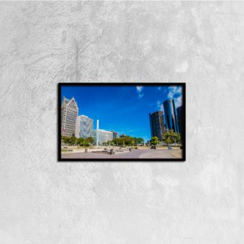 Detroit Downtown - Canvas Wall Art 20x12in