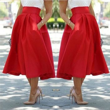 2015 Women Fashion Long A Line Pleated Midi Skirts Ball Party Dress [8805117575]