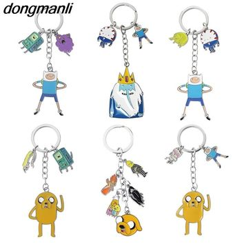 P1393 Dongmanli Adventure Time Anime Figure Keychain Finn Jake Beemo BMO Toy Bag Pendant Key Ring Lovely Key Chains Gift Kids
