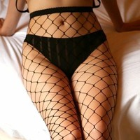1 Pair Black Fishnet Tights