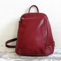 vintage 90s red leather rucksack. leather backpack. shoulder bag.