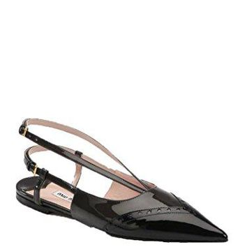 Miu Miu Black Perforated Patent Leather Slingback Flats