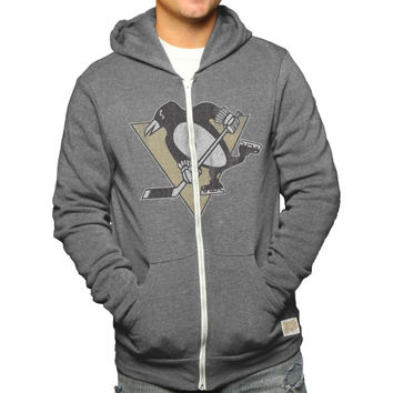 Original Retro Brand Pittsburgh Penguins Tri-Blend Fleece Full Zip Hooded Jacket - Ash