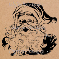 Digital Image Santa Claus Christmas Download Printable Graphic Antique Clip Art for Transfers Making Prints etc HQ 300dpi No.9