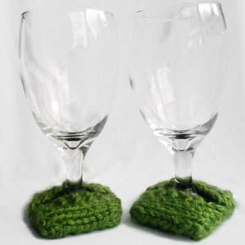 Wine Glass Coasters, Wine Glass Slippers, Hand Knit, Set of Two, Wine Glass Cozy, Olive Green, Green, Chartreuse
