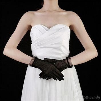 Women Diamond Decoration Sexy Night Party Club Translucent Full Finger Glove Summer Lace Sunscreen Elegant Prom Breathable Glove