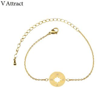 V Attract 10pcs Subsist Jewelry Women Pulseras Stainless Steel Chain Vintage Compass Charm Bracelet & Bangle Best Friends Gift