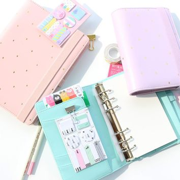 Creative dots bandage leather spiral notebooks,cute binder daily weekly planner/person agenda planner organizer stationery A5A6