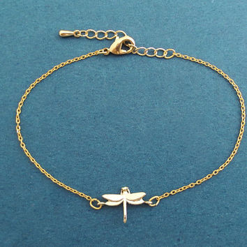 Tiny, Dragonfly, Adjustable chain, Gold, Bracelet, Birthday, Best friends, Sister, Gift, Jewelry