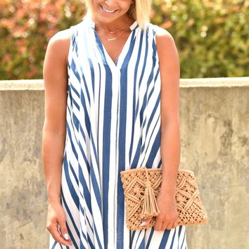 Close With You Sleeveless Dress - Blue