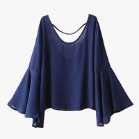 Blue Flare Bell Sleeved Blouse