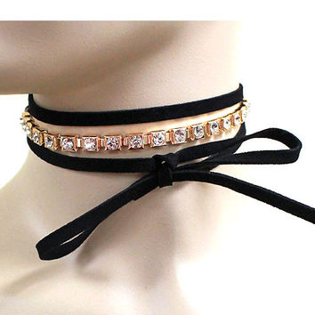 3-ROW TIED SUEDE & RHINESTONE CHOKER NECKLACE - BLACK/GOLD