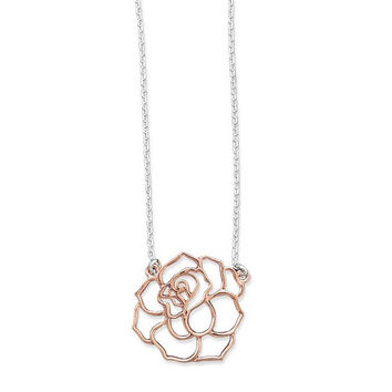 Two Tone Cut Out Rose Necklace