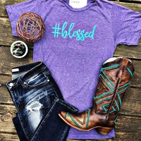 #Blessed Purple and Teal Graphic Tee