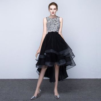 Luxury Real Elegant Black High Low Rhinestone Beaded Party Cocktail Dress 2017 Formal Homecoming Graduation Party Prom Gown TC98