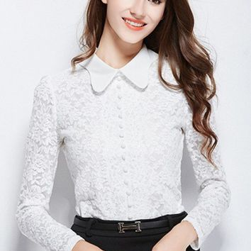 Blouse - Antiquarian Charisma Buttoned Floral Lace Top in White