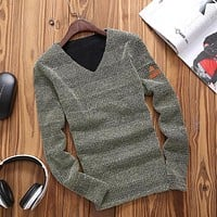 Spring Casual V Neck Long Sleeve T shirt Men Slim Fit