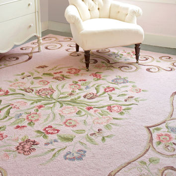 Siena Faded Rose Wool Hooked Rug