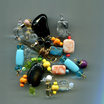 craft bead drops charms pendants stone gemstone crystal glass 27 pc jewelry supply