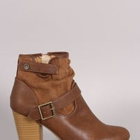 Qupid Slouchy Buckled Chunky Heeled Ankle Boots