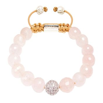 Women's Beaded Bracelet with Rose Quartz and Silver