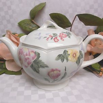 Lenox china Peony Garden Discontinued 2001 - 2003 Large Tea Pot Hold 5 cups