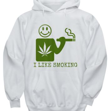 I Like Smoking Hoodie - White w/ Green Logo