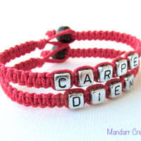 Carpe Diem, Set of Two Red Hemp Bracelets, Seize the Day, Handmade Inspirational Jewelry