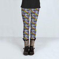 Kawaii Sun Rainbow Pattern by Hippy Gift Shop (Leggings)