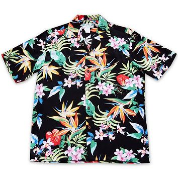 Jungle Black Hawaiian Rayon Shirt