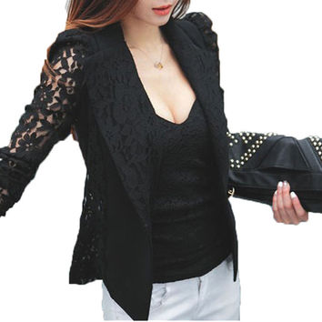 Fashion New Top Quality Coats Sexy Sheer Lace Blazer Lady Suit Outerwear 2016 Women OL Formal Work Suit Slim Jacket Black White