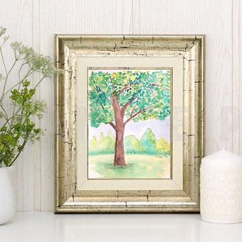 Watercolor Nursery painting, Original landscape, Whimsical Tree painting, Children's Playroom art, serene painting, wall art