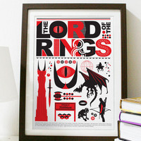 The Lord of the Rings Red and Black Poster A3 by Posterinspired