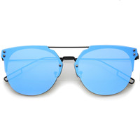 Minimal Modern Rimless Flat Lens Color Mirror Lens Sunglasses A320