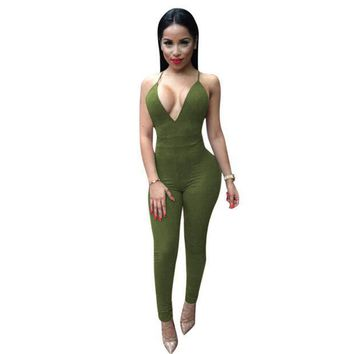 PEAPUNT Fashion!!Sleevel Elegant Jumpsuit Bodycon Deep V neck Backless Sexy Club Jumpsuits 5774