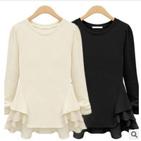 Plain Ruffle Trim Long Sleeve Shirt