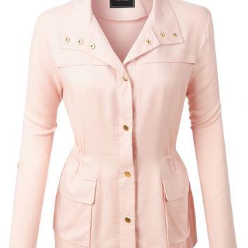 LE3NO Womens Lightweight Draped Military Anorak Jacket with Pockets