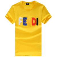 FENDI New Fashion Letter Embroidery T-Shirt Top Tee Yellow