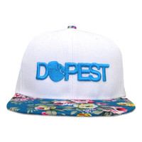 Dopest Bar Floral Snapback in White & Turquoise Floral