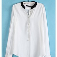 Women New Style Fashion V Neckline Long Sleeve Casual White Chiffon Shirt Top S/M/L@II0087w $14.59 only in eFexcity.com.