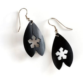 SALE Recycled bike inner tube flower petal earrings , unique black rubber jewelry handmade using up-cycled bicycle tire in a shield design