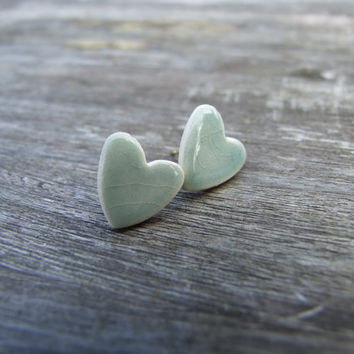 Grey jade heart earrings celadon green by damsontreepottery